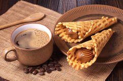 Coffee and waffle cones Royalty Free Stock Photo