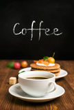 Coffee and waffles with berries Royalty Free Stock Photography