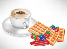 Coffee with waffles with berry Royalty Free Stock Photos