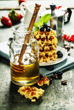 Coffee and waffles Royalty Free Stock Images