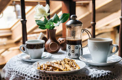 Coffee and waffles with chocolate Royalty Free Stock Image