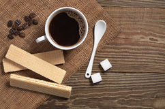 Coffee and waffles Royalty Free Stock Photos