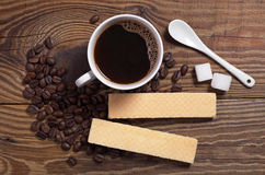 Coffee and waffles Royalty Free Stock Photo