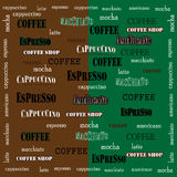Coffee Wallpaper-02. Coffee design on a green brown background  illustration Stock Images