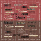 Coffee wallpaper sweetness. Coffee design on a red brown background  illustration Stock Image