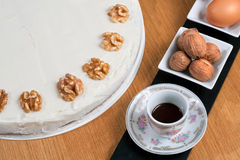 Coffee and Walnuts Cake Royalty Free Stock Image