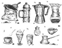 Coffee ware. Is hand drawn and live traced. Fills and outlines are separate groups, colors can be changed easily Royalty Free Stock Photos