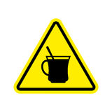 Coffee Warning sign yellow. Drinking tea Hazard attention symbol Royalty Free Stock Image