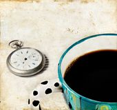 Coffee and Watch on a Grunge background Stock Images