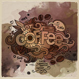 Coffee watercolor cartoon hand lettering and Royalty Free Stock Image