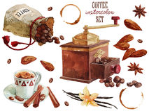 Coffee watercolor collection. Over white Royalty Free Stock Image