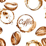 Coffee watercolor seamless pattern Royalty Free Stock Photo