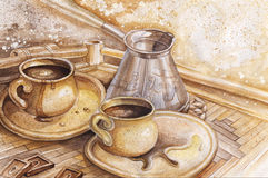 Coffee. Watercolor about coffee Still Life stock illustration
