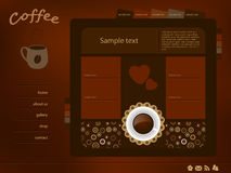 Coffee web layout Royalty Free Stock Photos