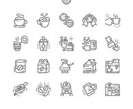 Coffee Well-crafted Pixel Perfect Vector Thin Line Icons 30 2x Grid for Web Graphics and Apps. Simple Minimal Pictogram Royalty Free Stock Images