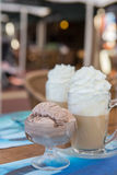 Coffee whipped cream and ice-cream Royalty Free Stock Photo