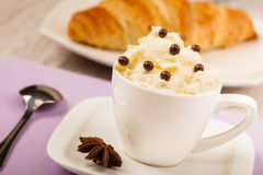 Coffee with whipped cream Royalty Free Stock Photo