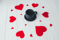 Coffee on a white background. valentine`s day. Coffee,red heart  on a white background. valentine`s day Stock Photography