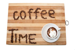 Coffee with white cream and sign coffee time Stock Image