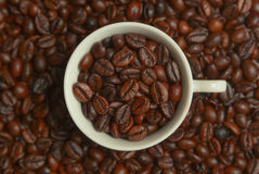 Coffee in a white cup. White cup with coffee beans stock photos
