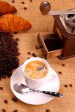 Coffee in white cup and coffee mill Stock Photo