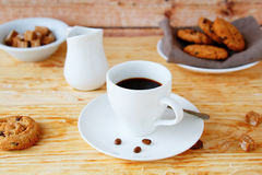 Coffee in white cup and cookies Royalty Free Stock Image