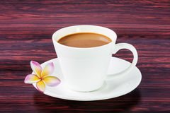 Coffee white cup with flower Royalty Free Stock Photo