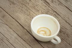 Coffee white cup is then used on a background of wooden Stock Photo