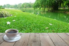 Coffee in White cup on Wooden foreground and Flower on the floor with Garden or Park background. Shady and relax concept stock photo