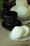 Coffee and white marshmallows Royalty Free Stock Photo