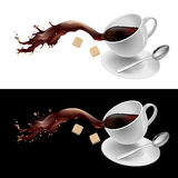 Coffee in white mug. Illustration on white and black background Stock Image