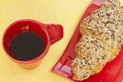 Coffee and whole wheat croissant Stock Photo