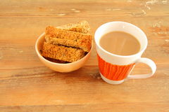 Coffee and wholewheat rusks Royalty Free Stock Images