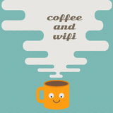 Coffee and wifi on retro concept. Vector Royalty Free Stock Images