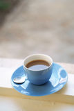 Coffee on window Royalty Free Stock Image