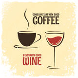 Coffee and wine logo design vintage background Stock Photo
