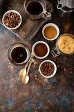 Coffee With Coffee Beans, Ground Coffee And Brown Sugar Stock Image