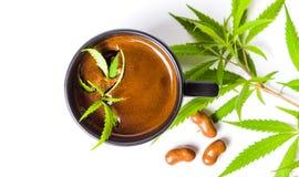 Free Coffee With Marijuana Leaf Top View Royalty Free Stock Photos - 101505918