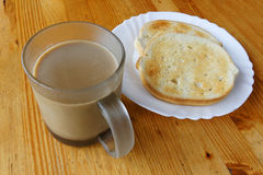 Coffee With Milk & Two Toasted Slices Royalty Free Stock Photo