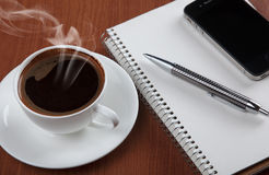 Coffee With Notebook And Phone Stock Image