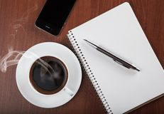 Coffee With Notebook And Phone Stock Images