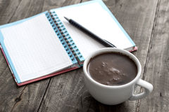Coffee With Notepad And Pen Royalty Free Stock Photos