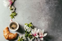 Coffee With Spring Flowers Royalty Free Stock Image