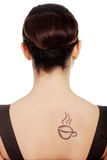 Coffee woman. Elegant woman in dress with coffee symbol on her back stock photography