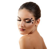 Coffee woman beauty face beautiful make-up isolated Royalty Free Stock Images