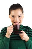 Coffee woman drinking espresso Stock Photography