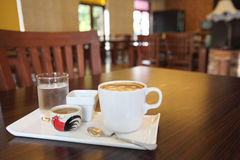 Coffee on wood background Royalty Free Stock Photo