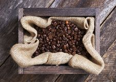 Coffee in Wood Crate Stock Photography