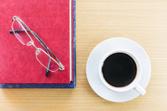 Coffee on a wood table and glasses Royalty Free Stock Photos