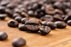 Coffee on wooden background Fresh coffee beans on wood ,ready to Stock Image